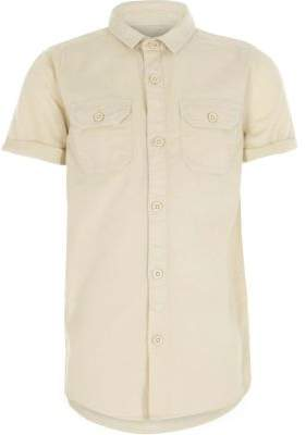 River Island Boys stone short sleeve utility shirt