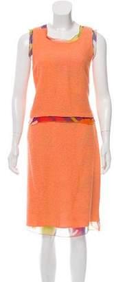 Chanel Silk-Trimmed Knee-Length Skirt Set