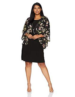 Tiana B Women's Size Plus Printed Chiffon Mock Jacket Dress