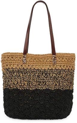 ST. JOHN'S BAY Straw Colorblock Tote Bag