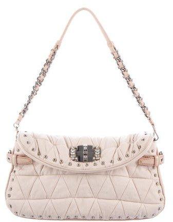 Miu MiuMiu Miu Embellished Woven Shoulder Bag