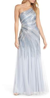 Adrianna Papell Beaded One-Shoulder Mermaid Gown