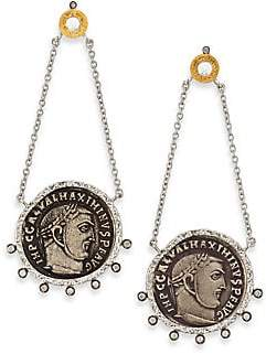 Coomi Silver Silver Women's Coin Diamond, Crystal, 20K Yellow Gold& Sterling Silver Drop Earrings