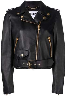 Moschino embroidery leather jacket