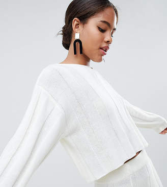 Asos Tall Design Tall Co-Ord Jumper With V Neck In Wide Rib
