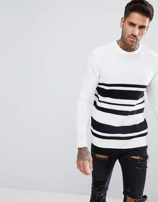 Bershka Textured Striped Sweater in White and Black