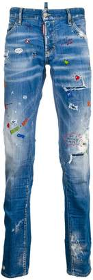 DSQUARED2 slim graffiti distressed jeans