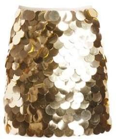 Sara Battaglia Metallic Pailette Mini A-line Skirt