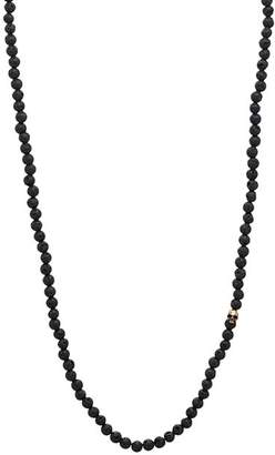 John Varvatos Collection Mercer Lava Bead & Brass Skull Necklace