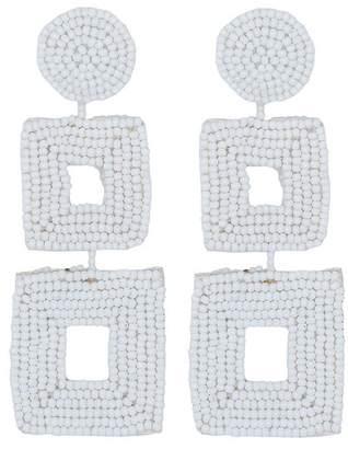 Kenneth Jay Lane White Seed Bead Open Double Square Shape Drop Pierced Or Clip Earrings