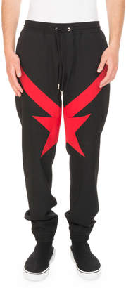 Givenchy Red Star-Knit Jogger Trouser Pants