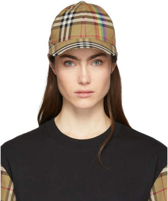 Burberry Beige Rainbow Vintage Check Cap