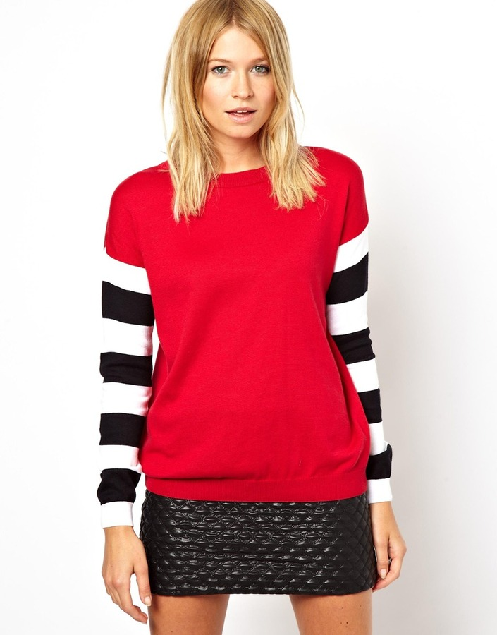 Asos Jumper With Striped Sleeves