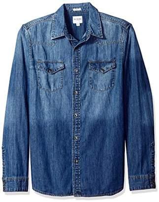 GUESS Men's Western Slim Denim Shirt in Medium Blue Wash