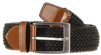 Black Military Green and Tan Leather Trimmed Woven Belt