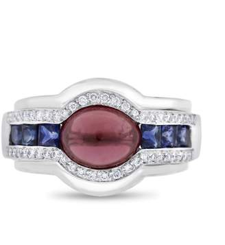 18k White Gold 2.85 Ct. Natural Diamond Cabochon Ruby and Sapphire Fashion Ring Size 6.5