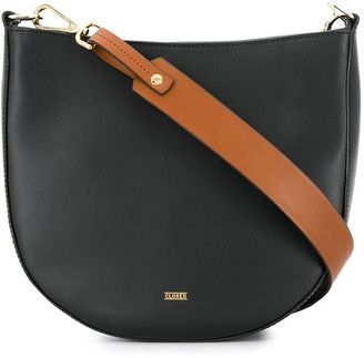 Closed contrasting strap shoulder bag