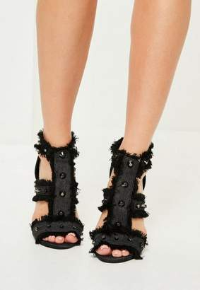 Missguided Gray Studded Frayed Gladiator Heeled Sandals