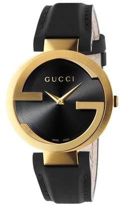 Gucci Interlocking Leather Strap Watch, 37mm
