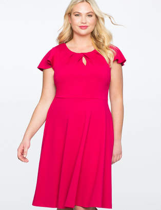 Keyhole Neckline Fit and Flare Dress