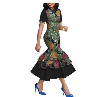 bd1234ca681 RealWax 2019 African Print Wax Dress Dashiki for Women Flower Floral Fashion  Culture Vintage Mermaid Ruffles
