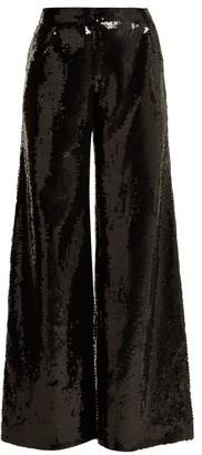 Halpern - Wide Leg Sequined Trousers - Womens - Black