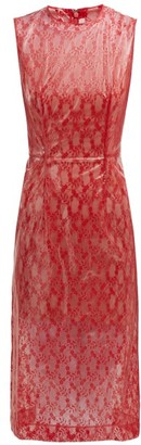 Christopher Kane Floral Lace & Pvc Midi Dress - Womens - Red