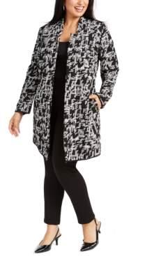 Alfani Plus Size Jacquard Open-Front Jacket, Created for Macy's