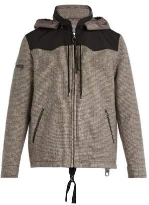 Lanvin Contrast Panel Houndstooth Wool Jacket - Mens - Multi