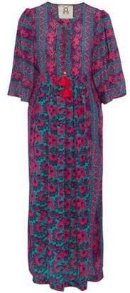 Figue Pleated Floral-Print Silk Crepe De Chine Midi Dress