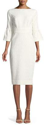 Lela Rose Flutter-Sleeve Fitted Jacquard Sheath Dress