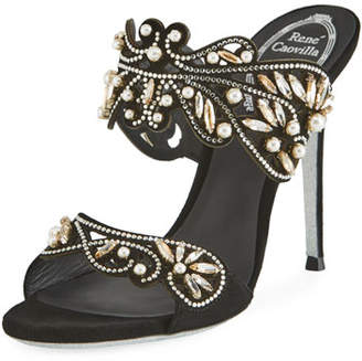 Rene Caovilla Arabesque Beaded Slide Sandals, Black