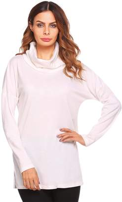Zeagoo Women's loose Cowl Neck Tunic Knit Top