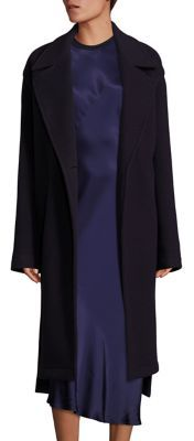 DKNY DKNY One-Button Front Wool-Blend Overcoat
