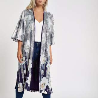 River Island Womens Petite navy floral sequin duster coat