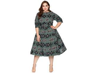 Unique Vintage Plus Size 1940s Style Sleeved Sally Swing Dress