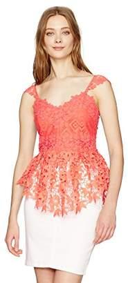 Nicole Miller Women's Lace Combos Peplum Top