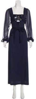 Philosophy di Alberta Ferretti Jeweled-Accented Maxi Dress