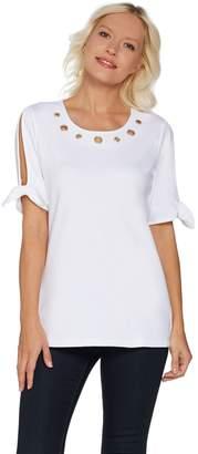 Factory Quacker Grommet Neck Split Sleeve Knit T-Shirt with Tie Detail