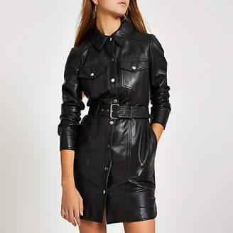 River Island Black leather long sleeve shirt dress