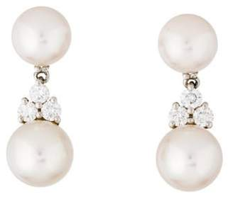 Tiffany & Co. Platinum Pearl & Diamond Drop Earrings Platinum Pearl & Diamond Drop Earrings