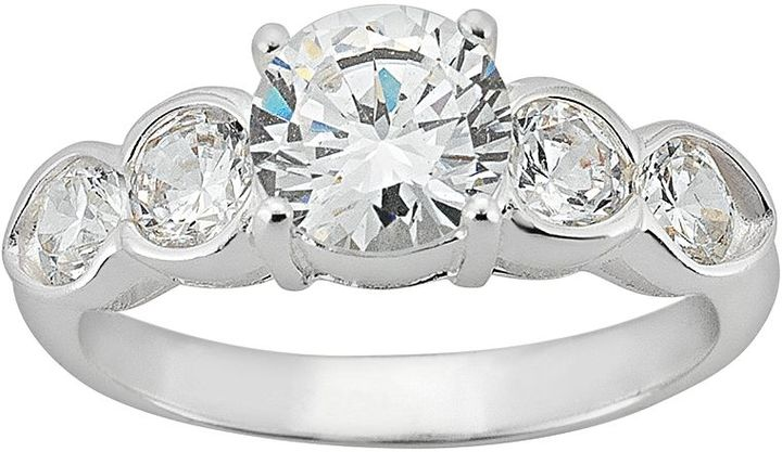 Sunstone 925 Round-Cut Five Stone Engagement Ring in Sterling Silver - Made with Swarovski Cubic Zirconia