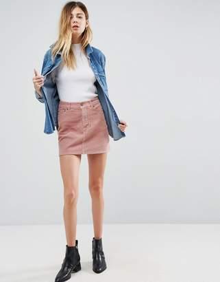 Asos Cord Pelmet Skirt In Pale Pink