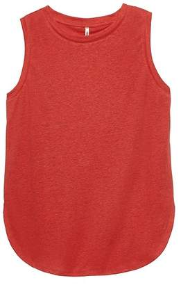 Banana Republic Petite Linen Blend Curved-Hem Tank