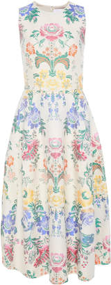 Carolina Herrera Pleated Floral Cotton And Silk-Blend Midi Dress