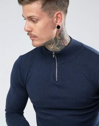 Asos Design DESIGN turtleneck sweater with zip in navy