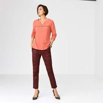 f1707075f74fe6 Anne Weyburn Cotton Slub Grandad Collar T-Shirt