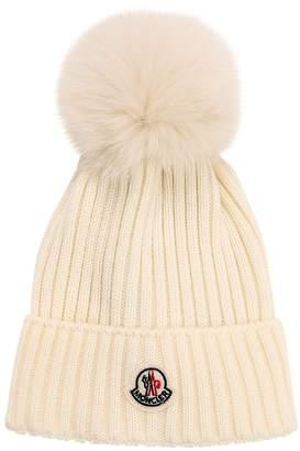 Moncler Wool Knit Hat W/ Fox Fur Pompom