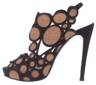 Pierre Hardy Scalloped Glitter Sandals