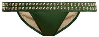 Norma Kamali Stud Band Bikini Bottoms - Womens - Green